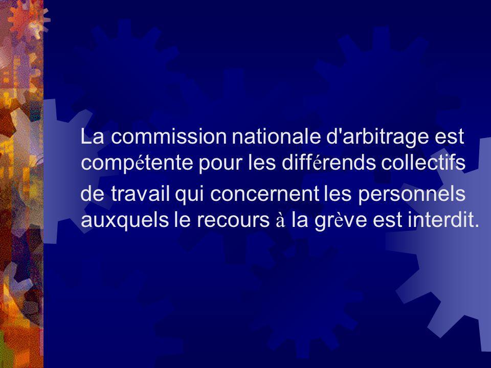 La commission nationale d arbitrage est compétente pour les différends collectifs