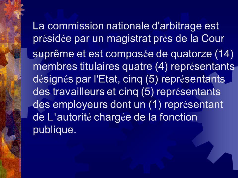 La commission nationale d arbitrage est présidée par un magistrat près de la Cour