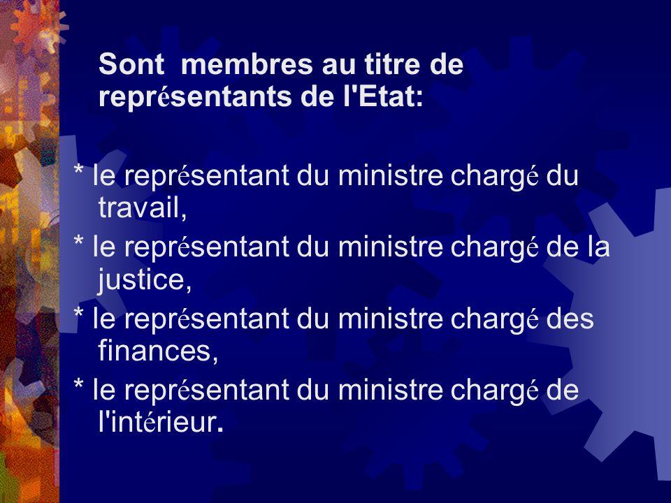 Sont membres au titre de représentants de l Etat: