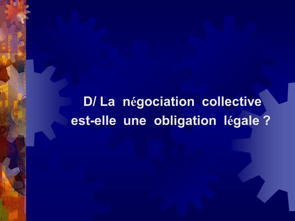 D/ La négociation collective est-elle une obligation légale