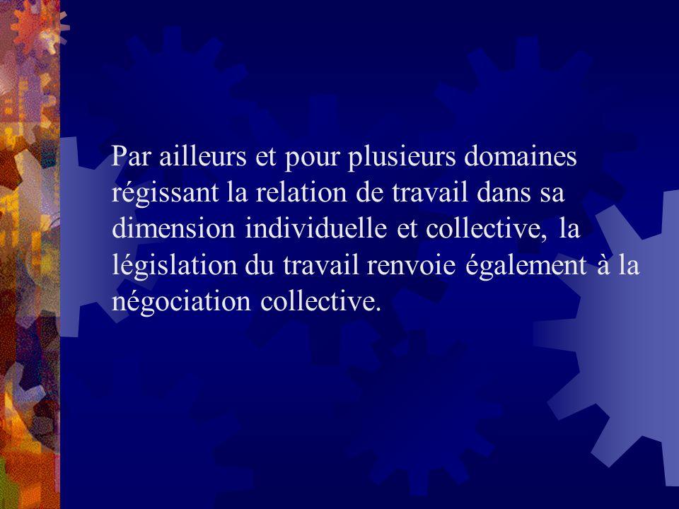 Par ailleurs et pour plusieurs domaines régissant la relation de travail dans sa dimension individuelle et collective, la législation du travail renvoie également à la négociation collective.