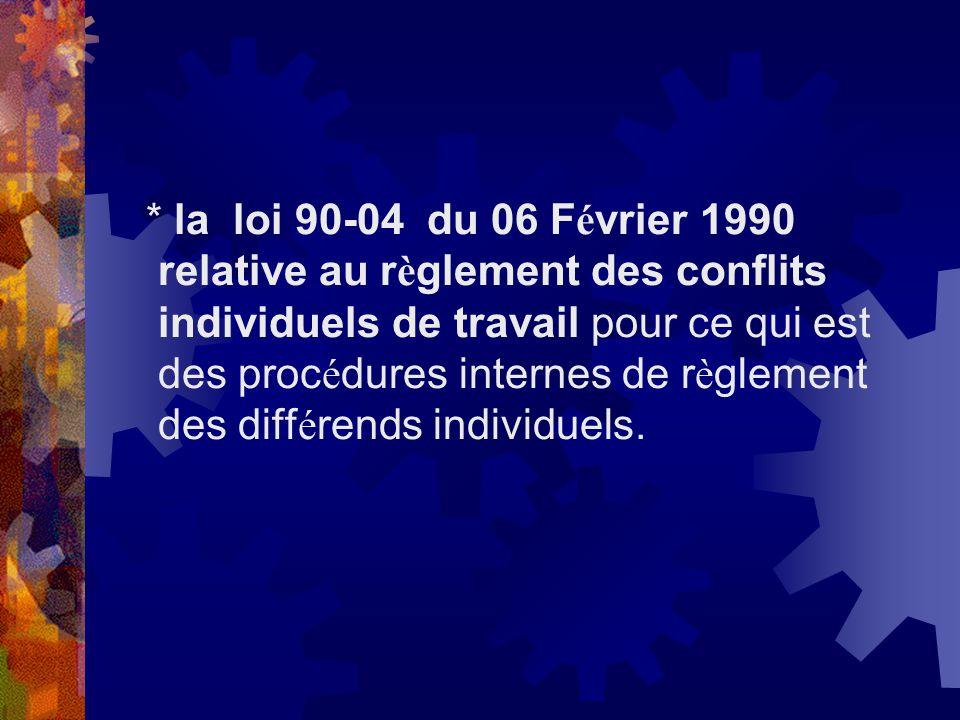 * la loi 90-04 du 06 Février 1990 relative au règlement des conflits individuels de travail pour ce qui est des procédures internes de règlement des différends individuels.