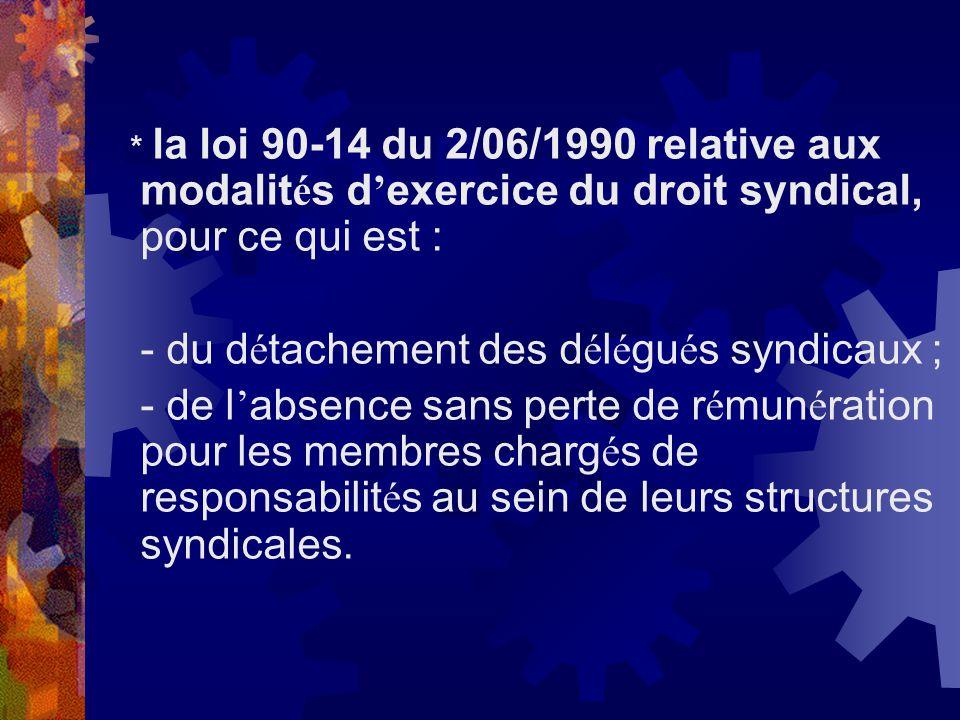 - du détachement des délégués syndicaux ;
