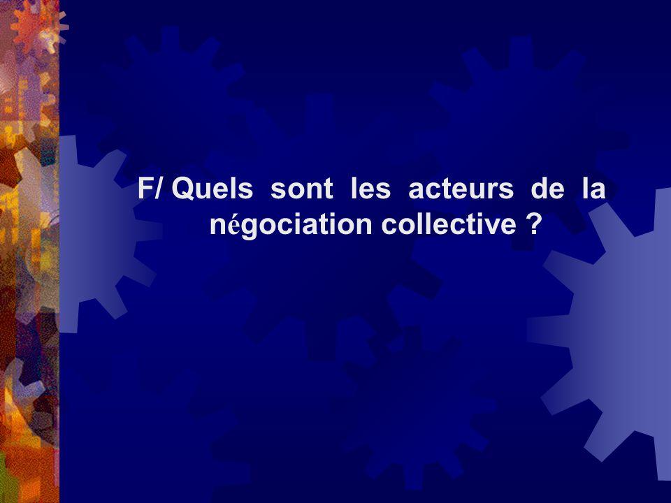 F/ Quels sont les acteurs de la négociation collective