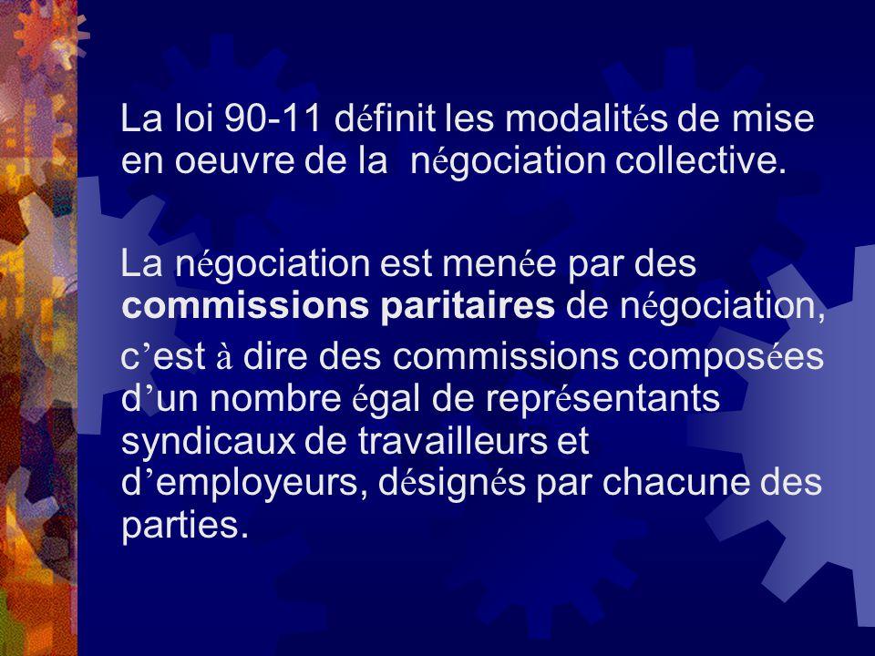 La loi 90-11 définit les modalités de mise en oeuvre de la négociation collective.