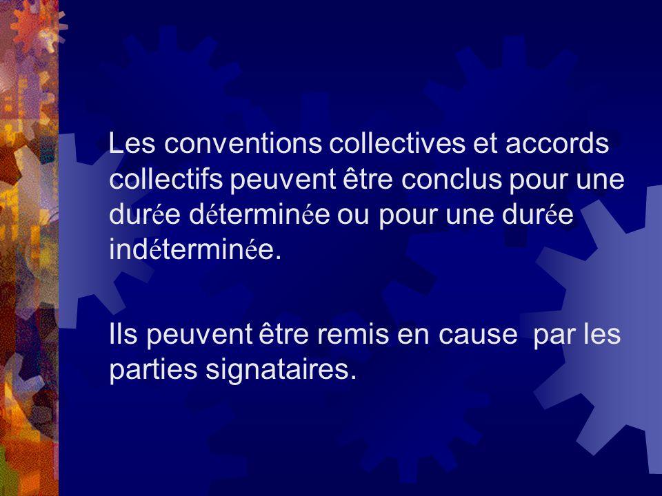 Les conventions collectives et accords collectifs peuvent être conclus pour une durée déterminée ou pour une durée indéterminée.