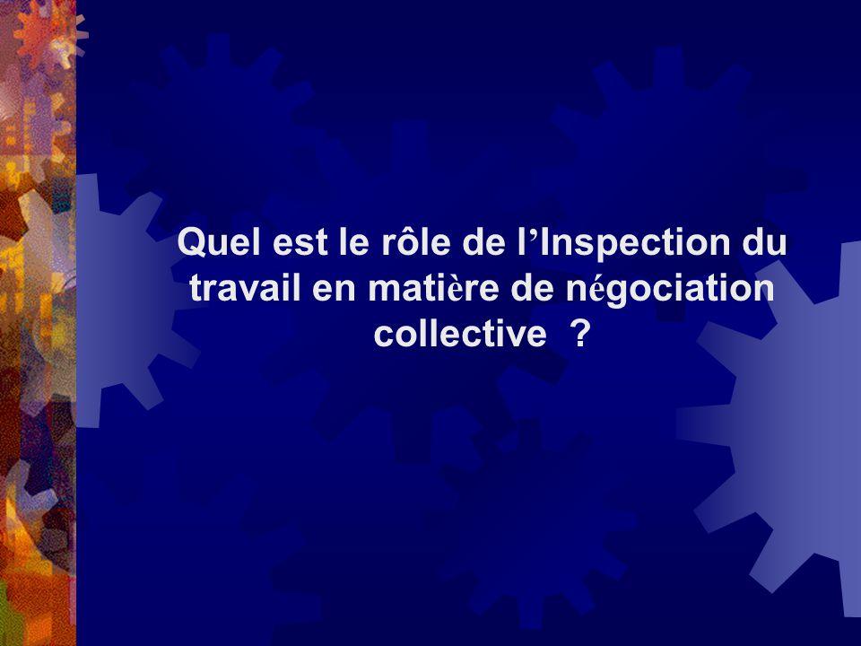 Quel est le rôle de l'Inspection du travail en matière de négociation collective