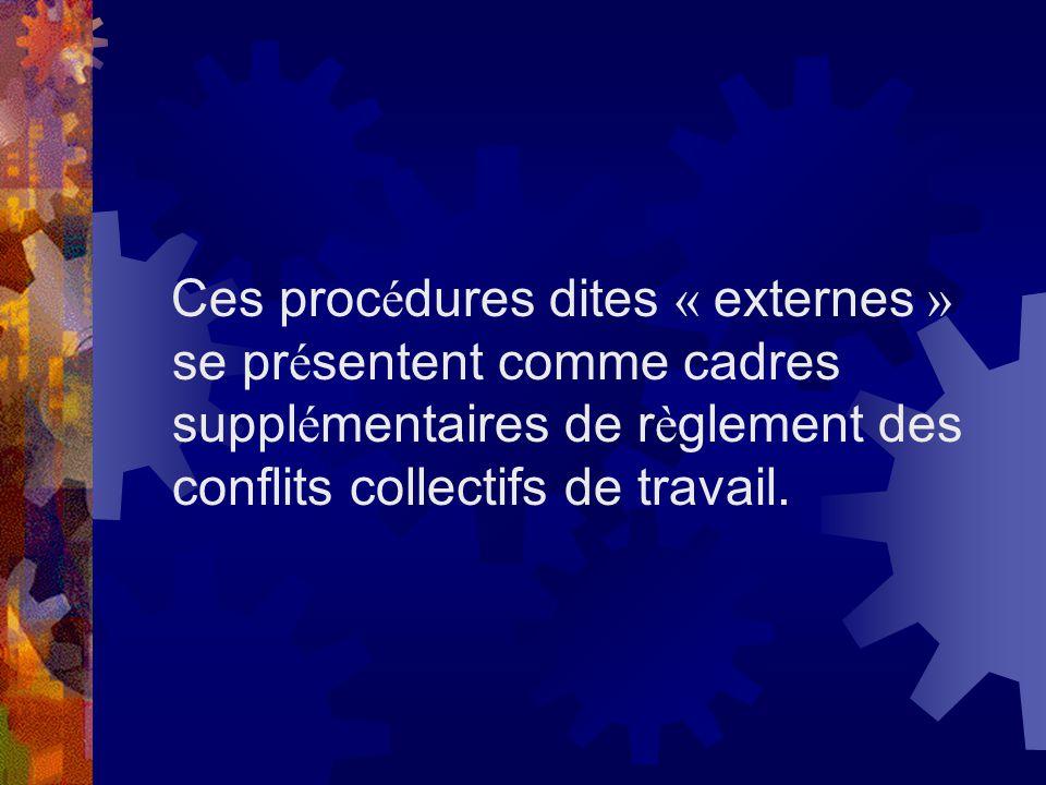 Ces procédures dites « externes » se présentent comme cadres supplémentaires de règlement des conflits collectifs de travail.