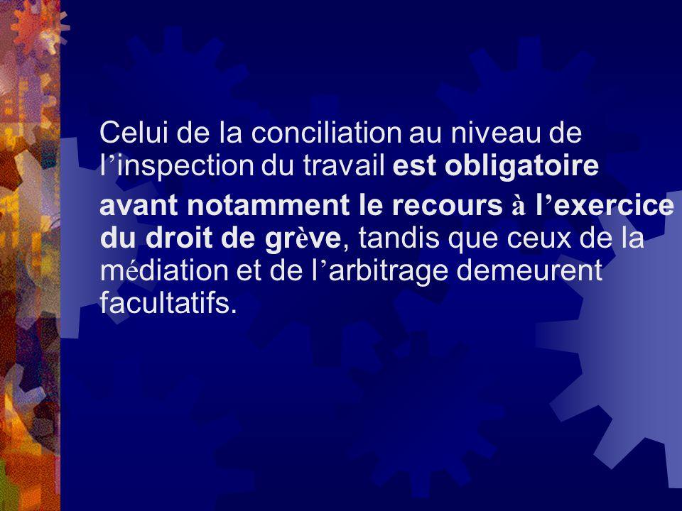 Celui de la conciliation au niveau de l'inspection du travail est obligatoire