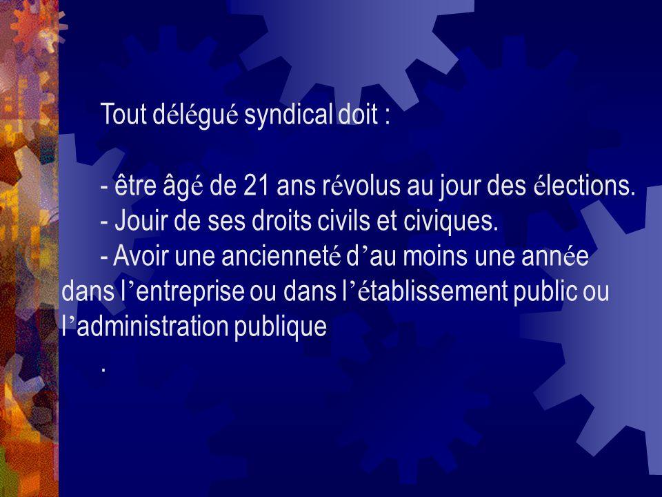 Tout délégué syndical doit :