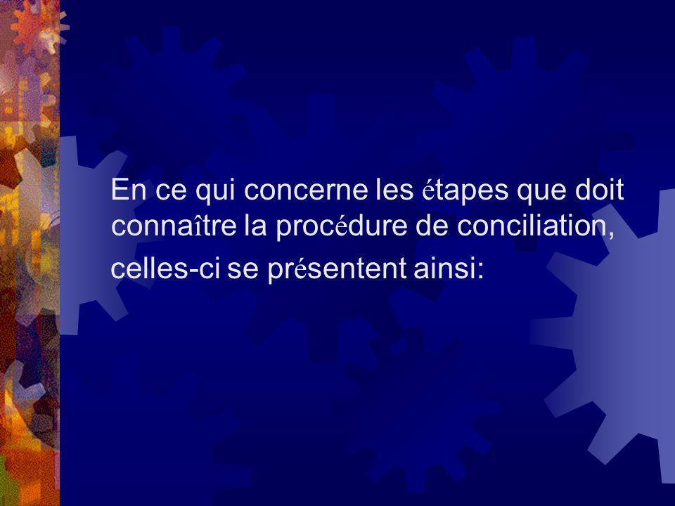 En ce qui concerne les étapes que doit connaître la procédure de conciliation,