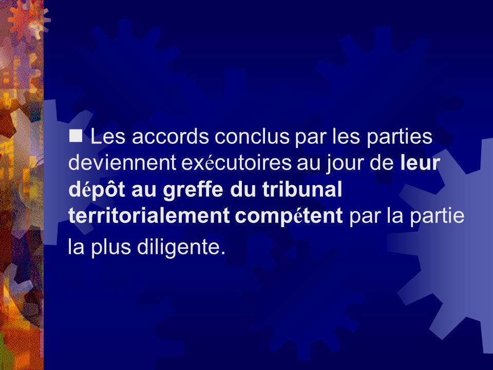  Les accords conclus par les parties deviennent exécutoires au jour de leur dépôt au greffe du tribunal territorialement compétent par la partie