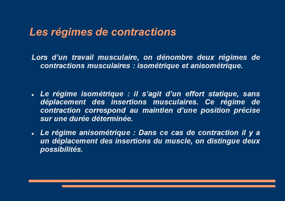 Les régimes de contractions