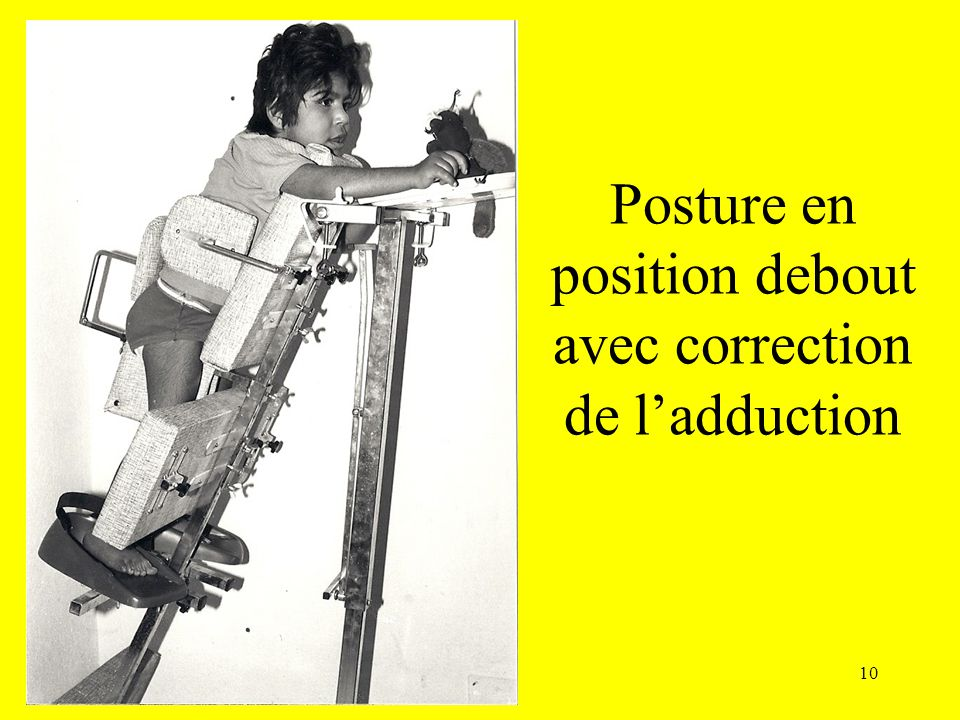 Posture en position debout avec correction de l'adduction