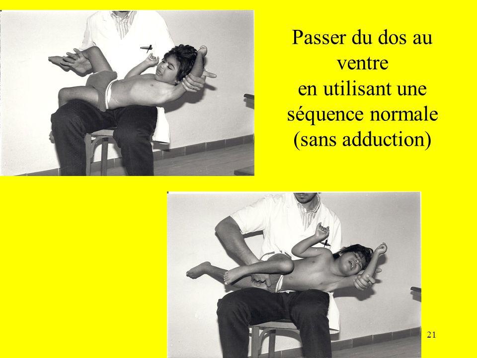 Passer du dos au ventre en utilisant une séquence normale (sans adduction)