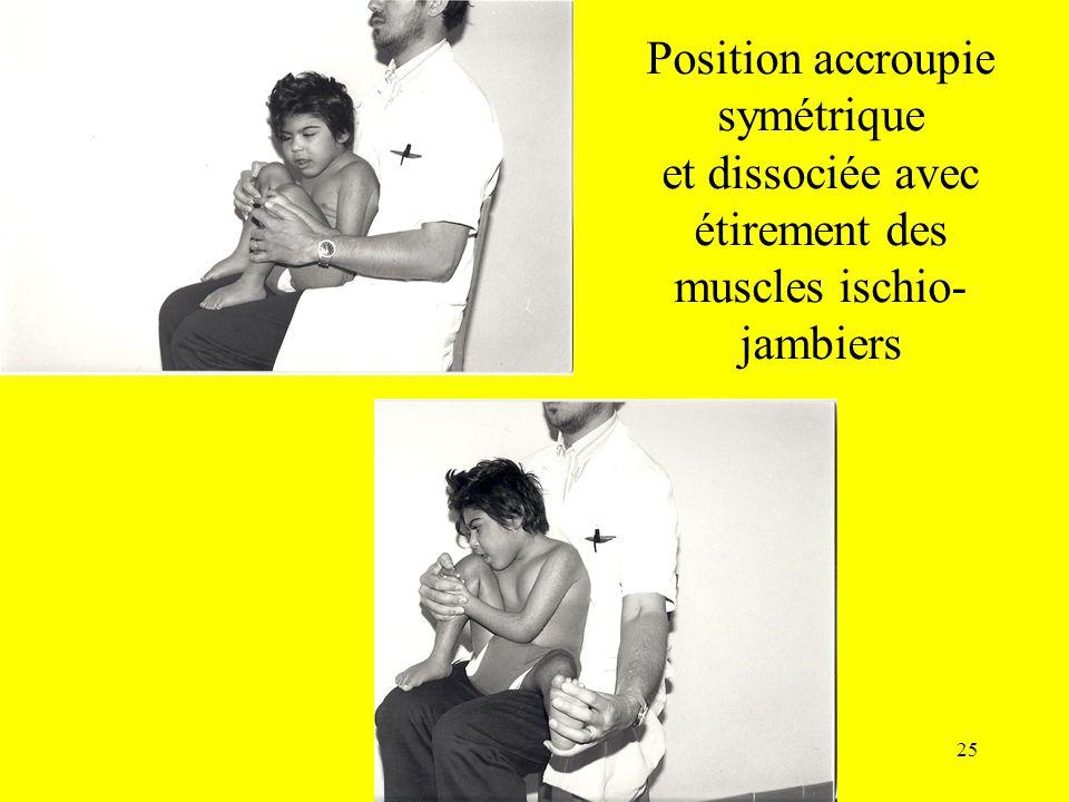 Position accroupie symétrique et dissociée avec étirement des muscles ischio-jambiers