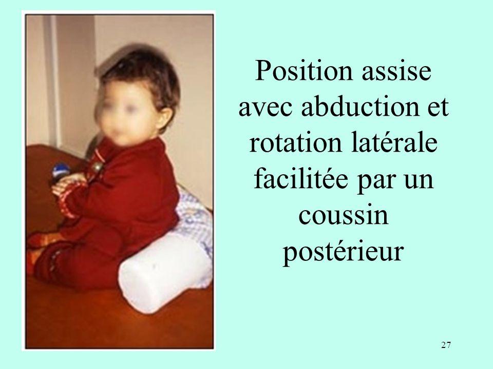 Position assise avec abduction et rotation latérale facilitée par un coussin postérieur