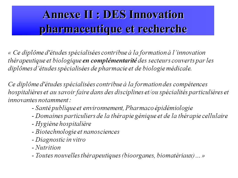 Annexe II : DES Innovation pharmaceutique et recherche