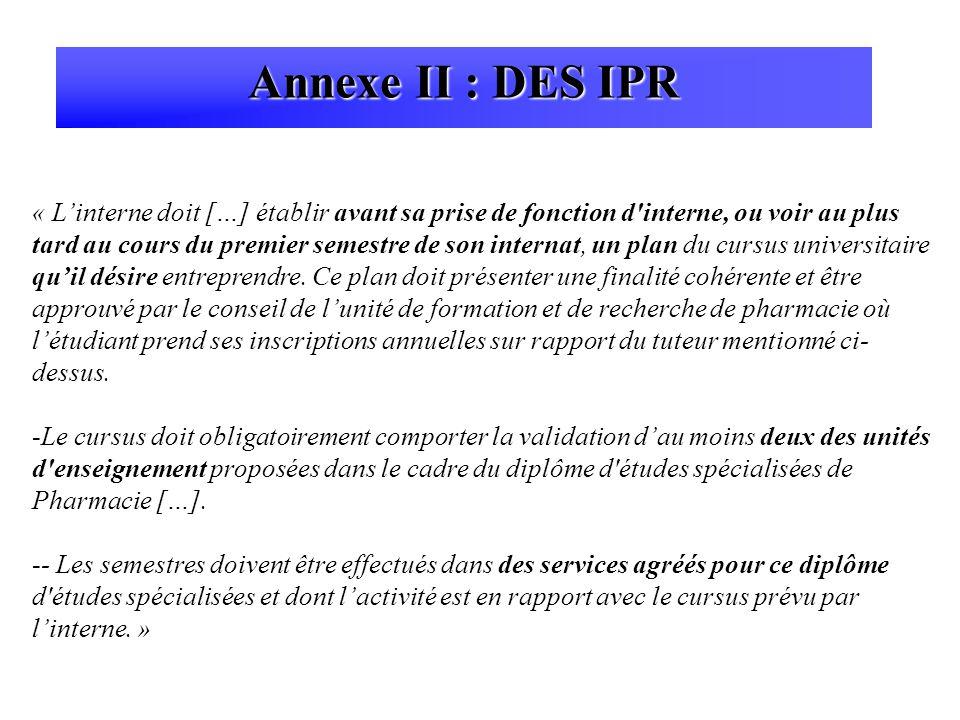 Annexe II : DES IPR
