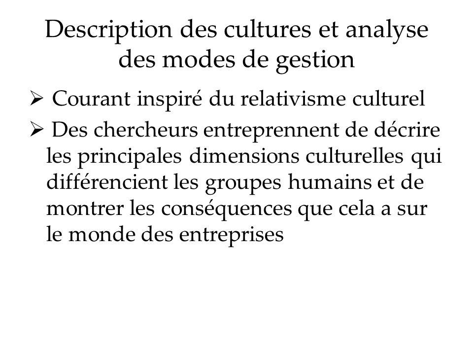 Description des cultures et analyse des modes de gestion