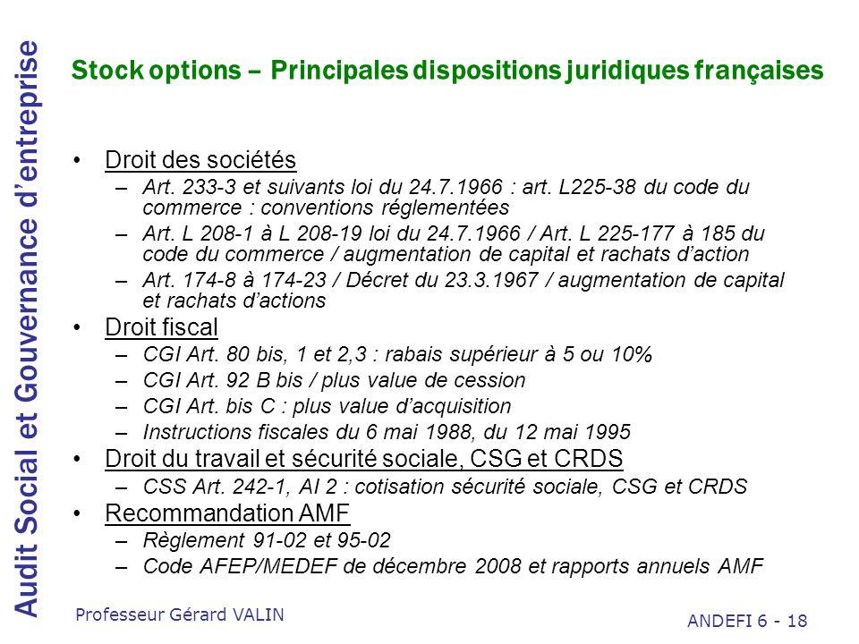 Stock options – Principales dispositions juridiques françaises