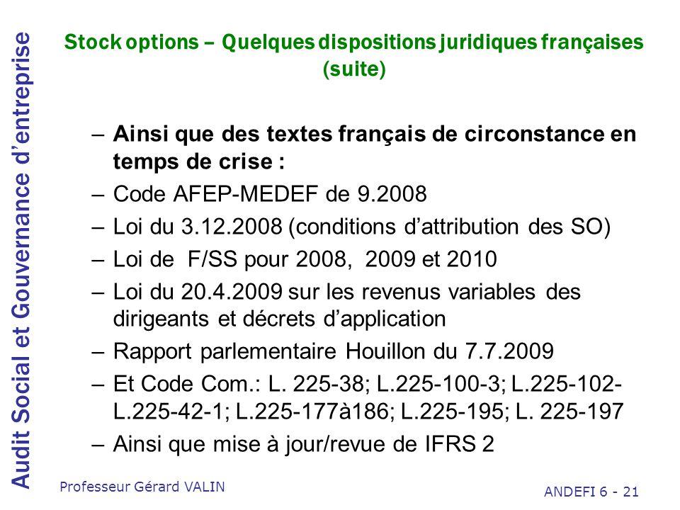 Stock options – Quelques dispositions juridiques françaises (suite)