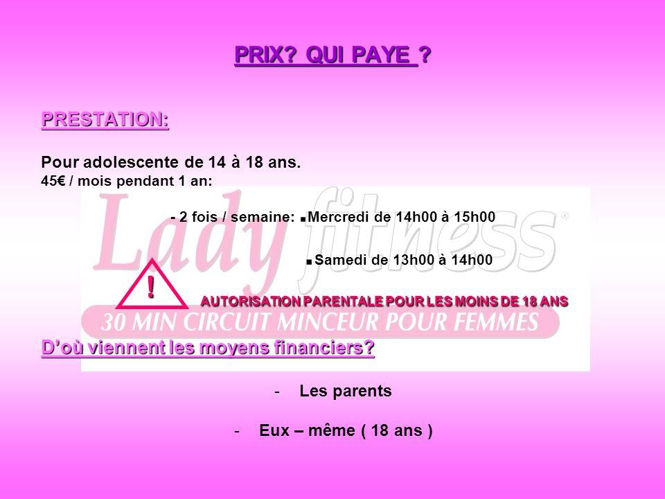 AUTORISATION PARENTALE POUR LES MOINS DE 18 ANS