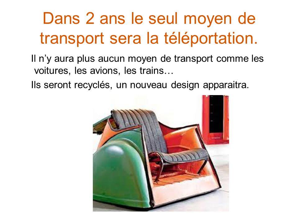Dans 2 ans le seul moyen de transport sera la téléportation.