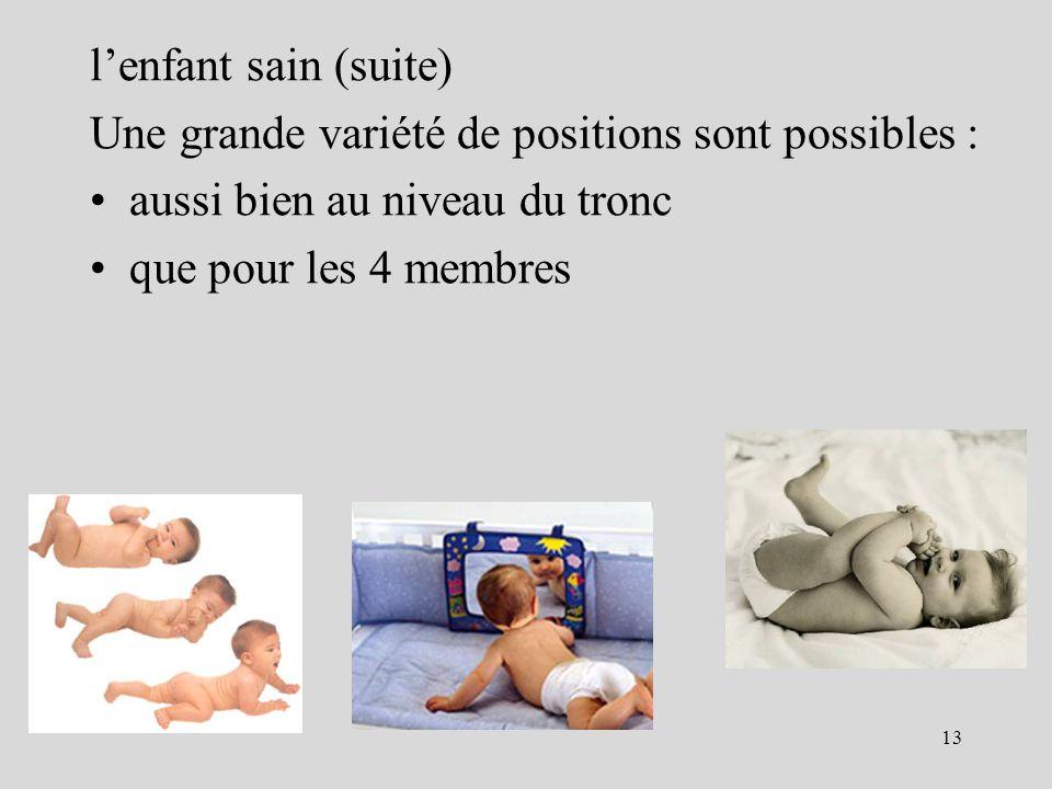 l'enfant sain (suite) Une grande variété de positions sont possibles : aussi bien au niveau du tronc.