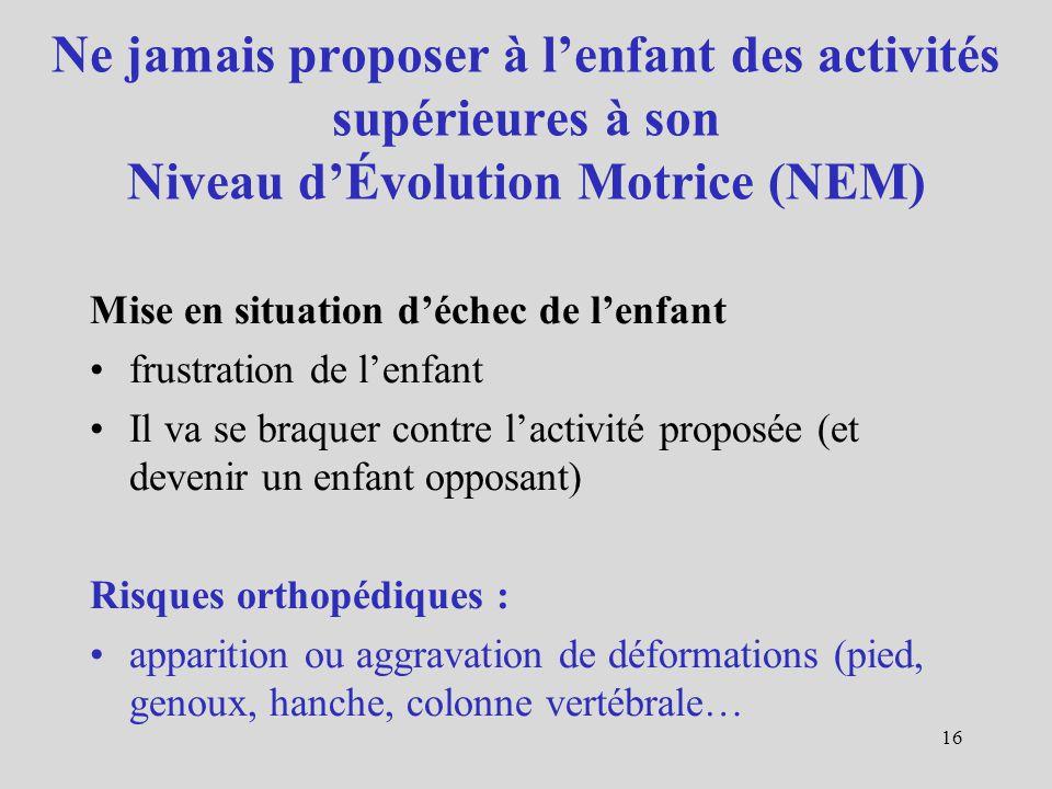 Ne jamais proposer à l'enfant des activités supérieures à son Niveau d'Évolution Motrice (NEM)