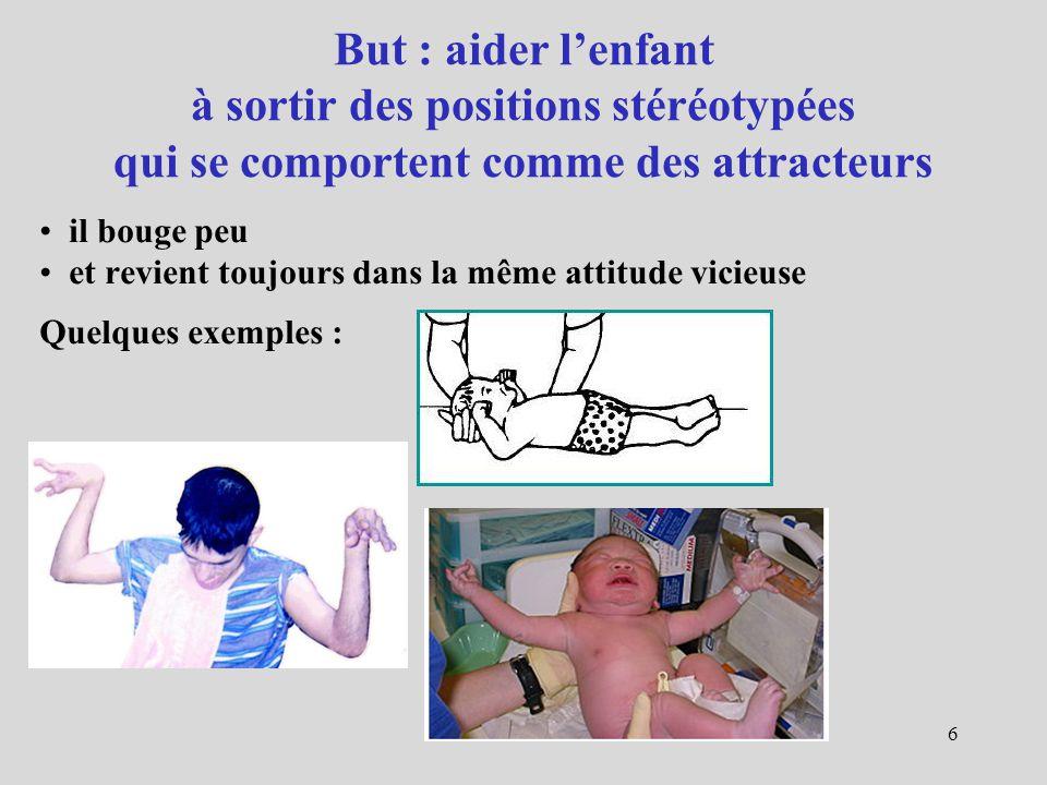 But : aider l'enfant à sortir des positions stéréotypées qui se comportent comme des attracteurs