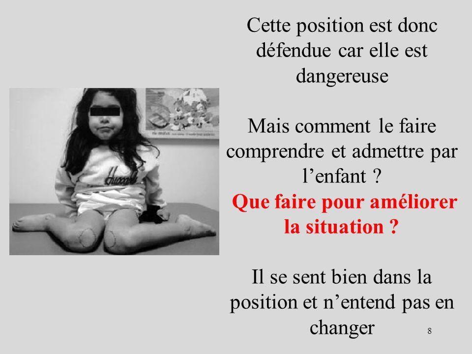 Cette position est donc défendue car elle est dangereuse Mais comment le faire comprendre et admettre par l'enfant .
