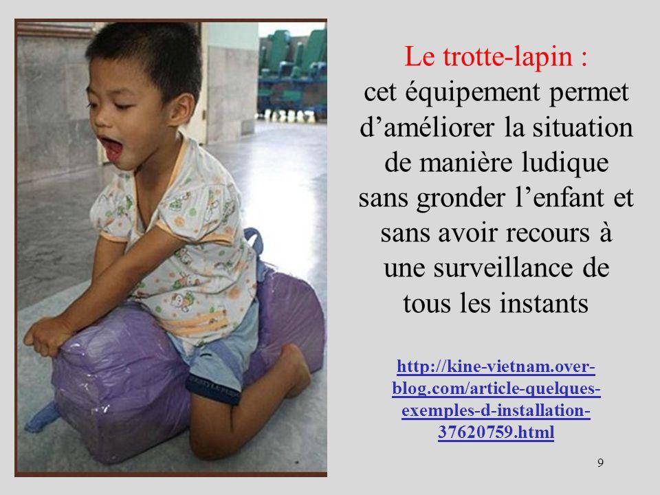 Le trotte-lapin : cet équipement permet d'améliorer la situation de manière ludique sans gronder l'enfant et sans avoir recours à une surveillance de tous les instants http://kine-vietnam.over-blog.com/article-quelques-exemples-d-installation-37620759.html