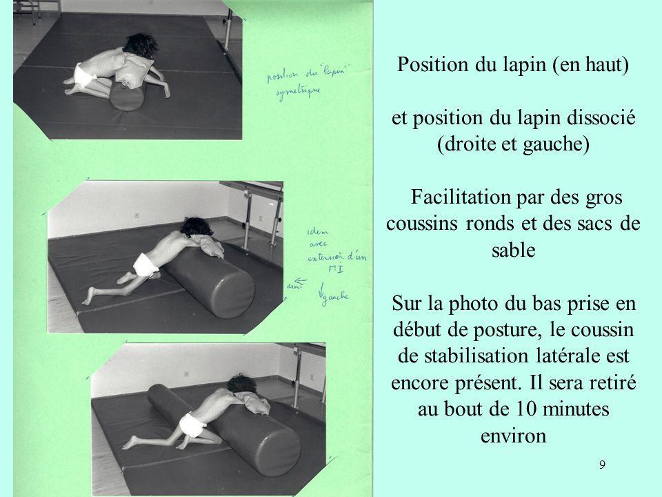 Position du lapin (en haut) et position du lapin dissocié (droite et gauche) Facilitation par des gros coussins ronds et des sacs de sable Sur la photo du bas prise en début de posture, le coussin de stabilisation latérale est encore présent.