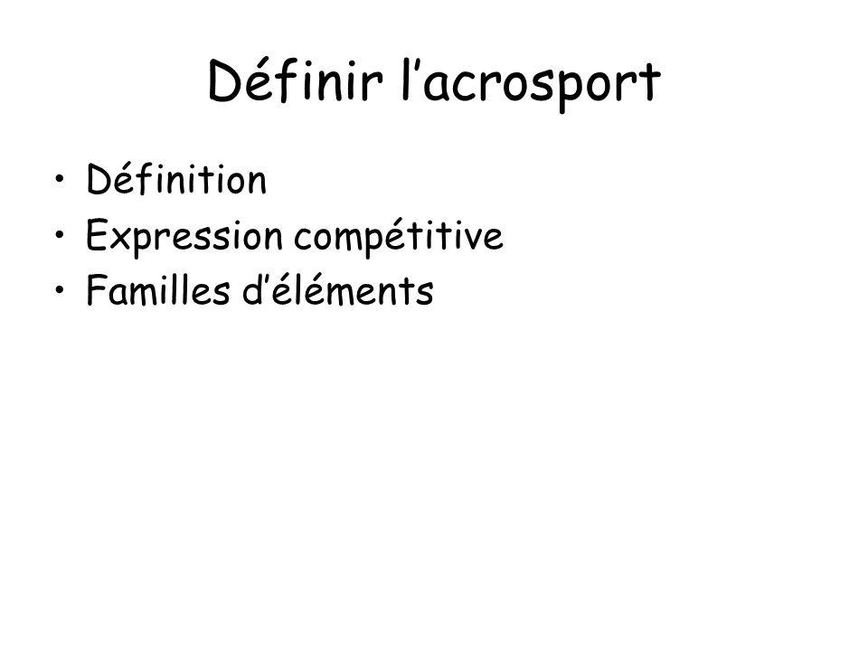 Définir l'acrosport Définition Expression compétitive