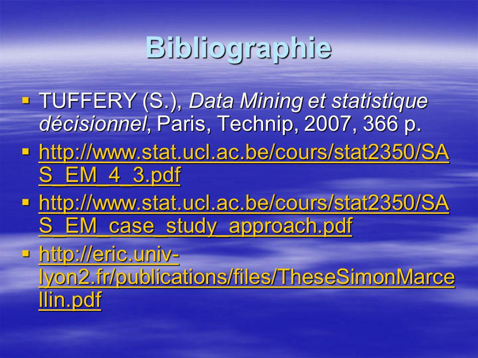 Bibliographie TUFFERY (S.), Data Mining et statistique décisionnel, Paris, Technip, 2007, 366 p.