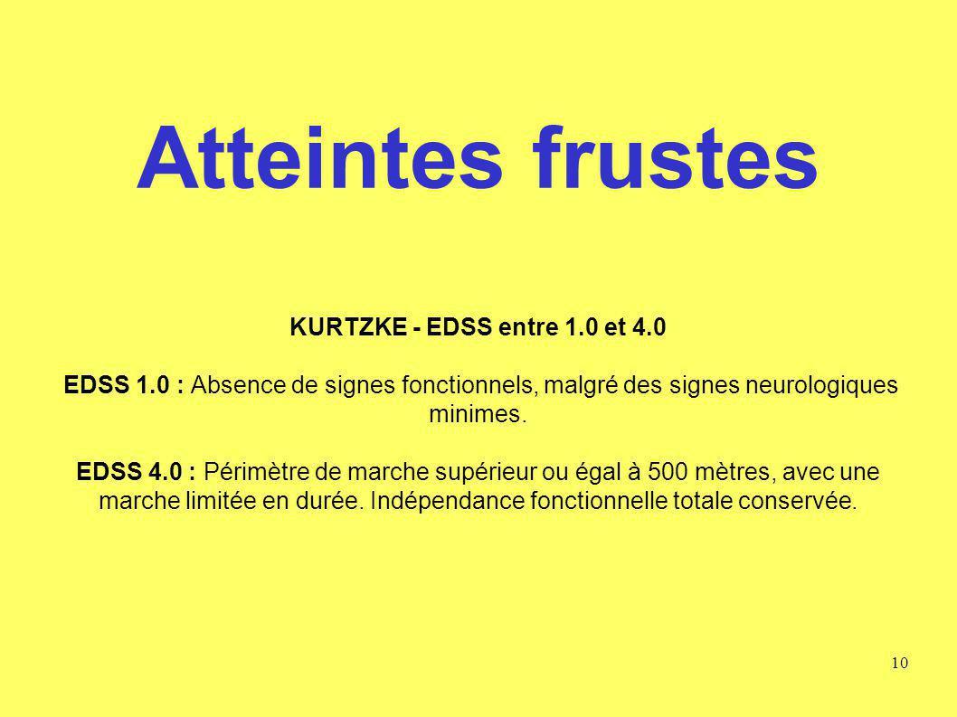 Atteintes frustes KURTZKE - EDSS entre 1. 0 et 4. 0 EDSS 1