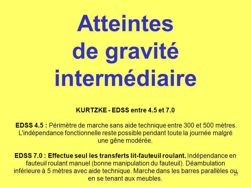 Atteintes de gravité intermédiaire KURTZKE - EDSS entre 4. 5 et 7