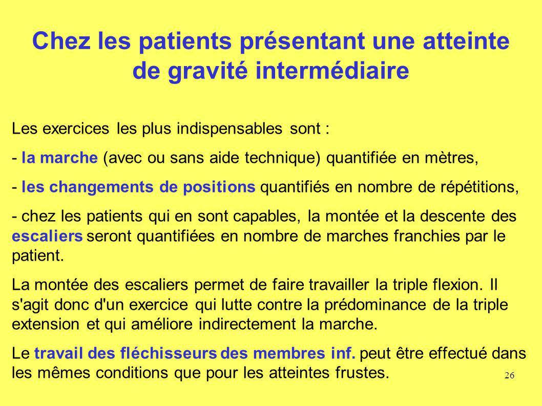 Chez les patients présentant une atteinte de gravité intermédiaire