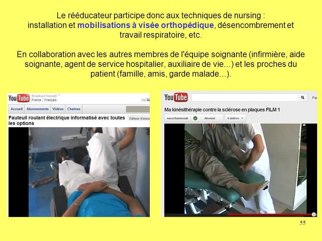 Le rééducateur participe donc aux techniques de nursing : installation et mobilisations à visée orthopédique, désencombrement et travail respiratoire, etc.