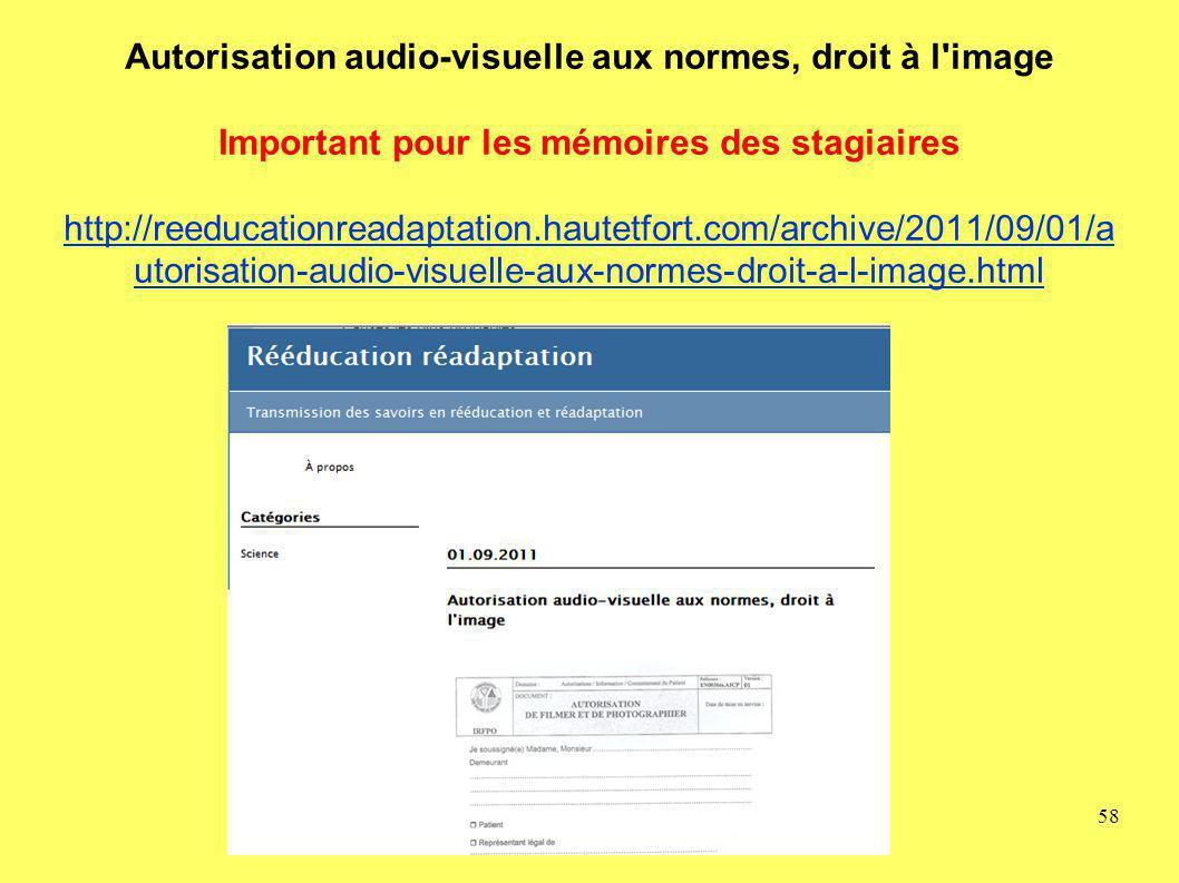 Autorisation audio-visuelle aux normes, droit à l image Important pour les mémoires des stagiaires http://reeducationreadaptation.hautetfort.com/archive/2011/09/01/autorisation-audio-visuelle-aux-normes-droit-a-l-image.html