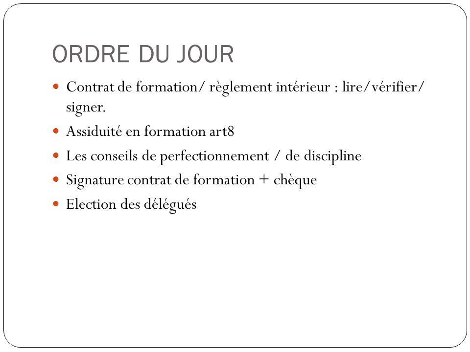 ORDRE DU JOUR Contrat de formation/ règlement intérieur : lire/vérifier/ signer. Assiduité en formation art8.