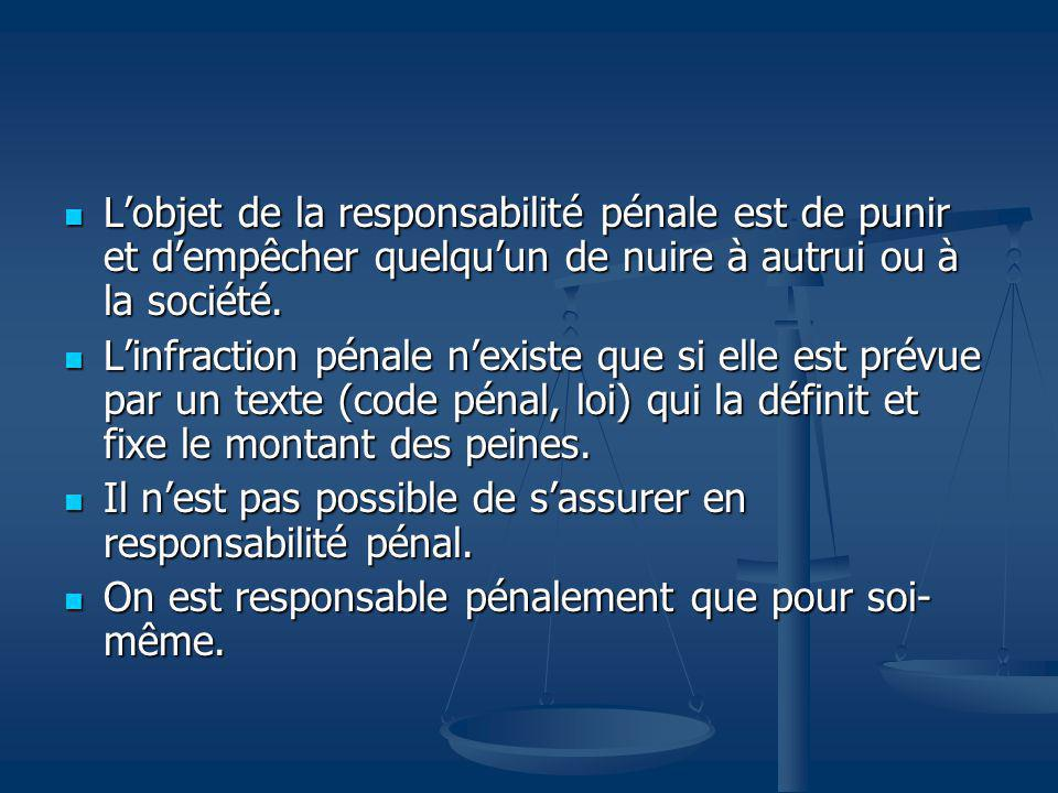 L'objet de la responsabilité pénale est de punir et d'empêcher quelqu'un de nuire à autrui ou à la société.