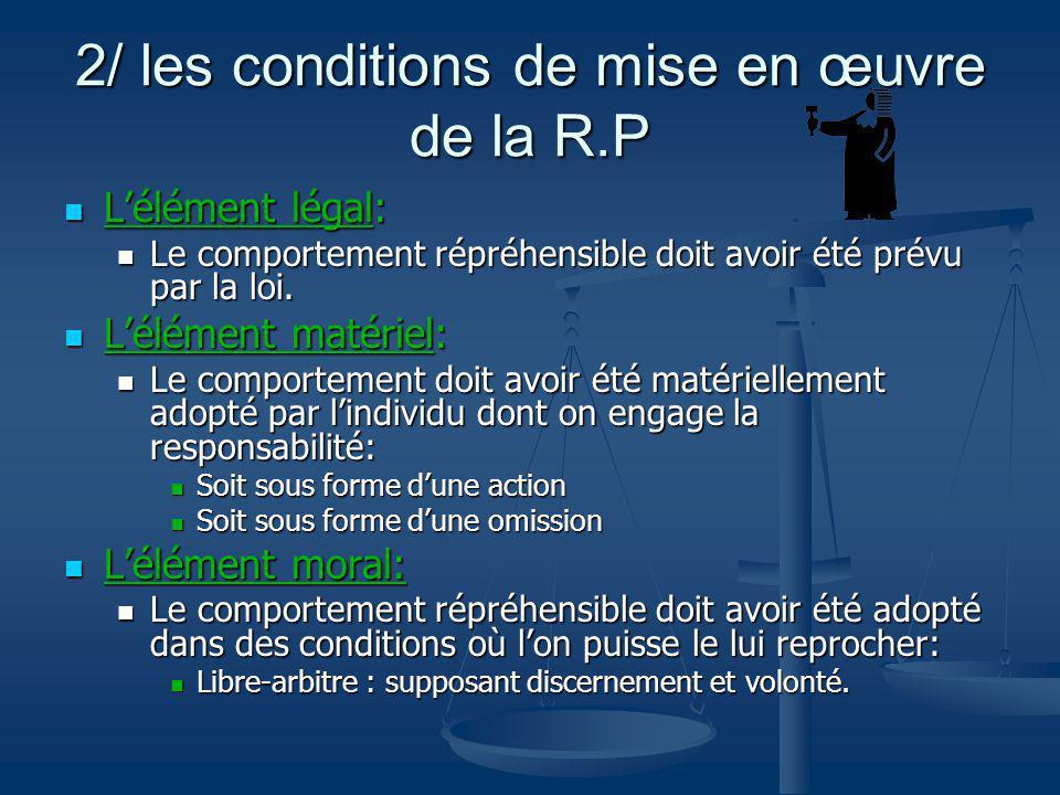 2/ les conditions de mise en œuvre de la R.P