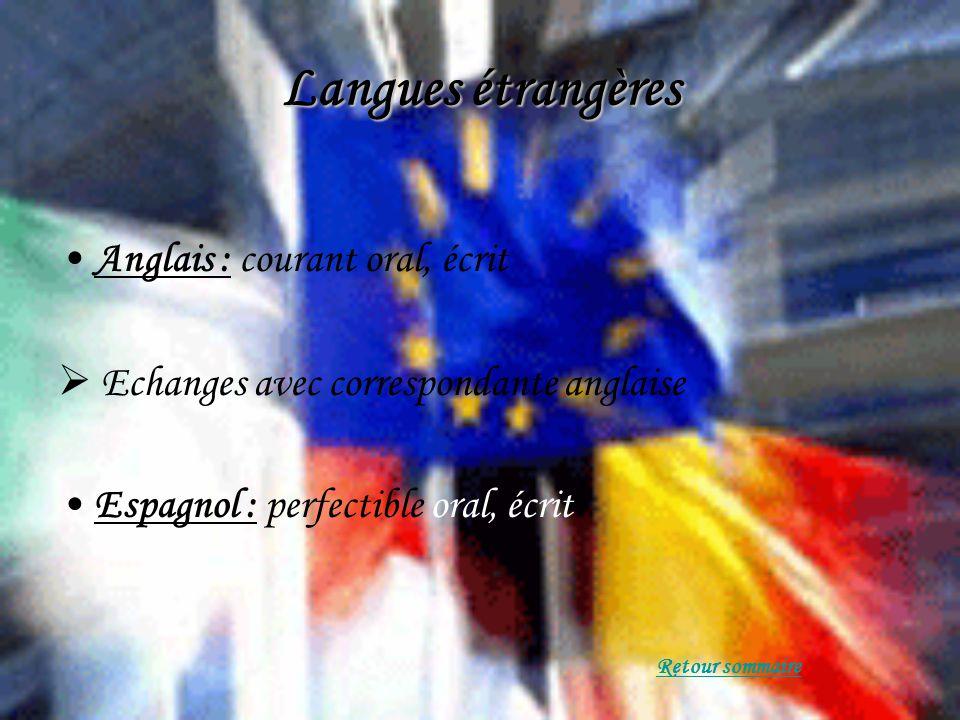Langues étrangères Anglais : courant oral, écrit