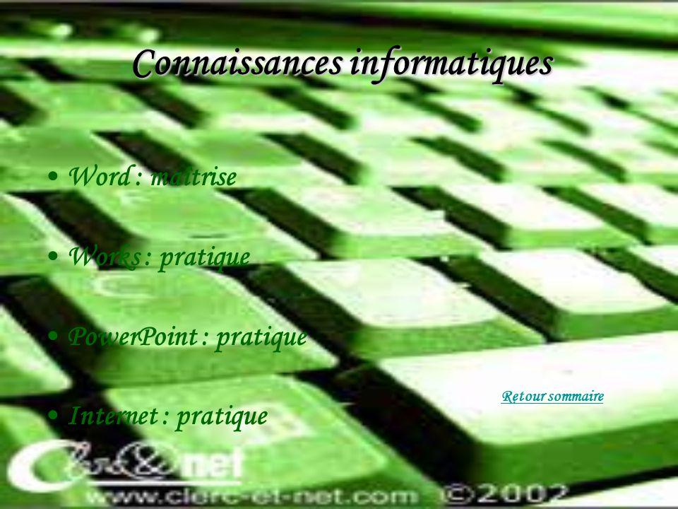 Connaissances informatiques