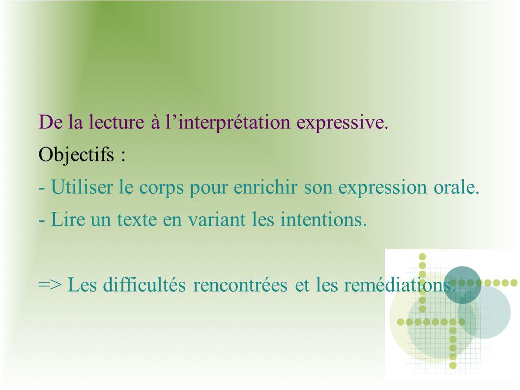 De la lecture à l'interprétation expressive.