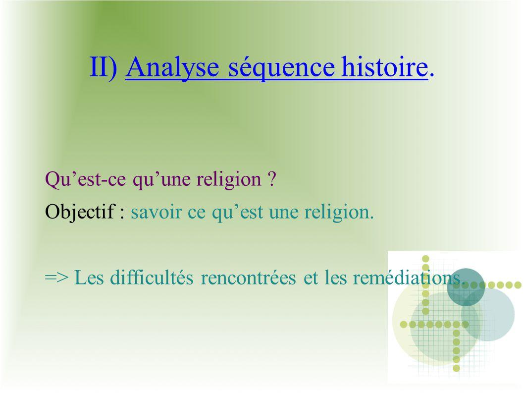 II) Analyse séquence histoire.