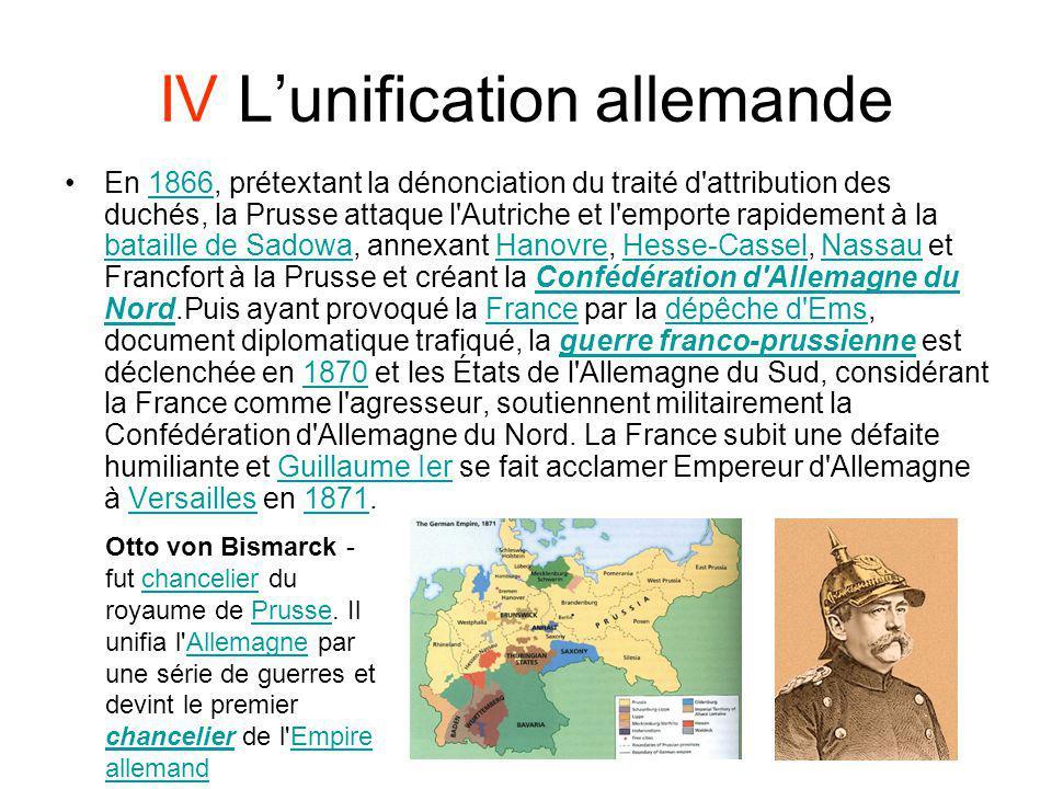 IV L'unification allemande
