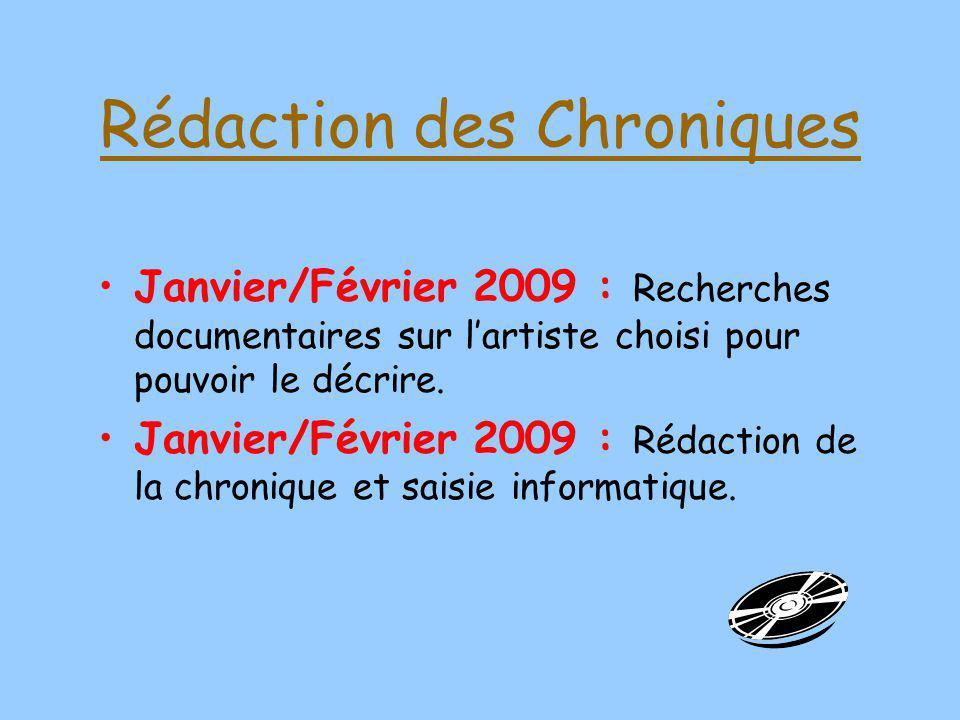 Rédaction des Chroniques